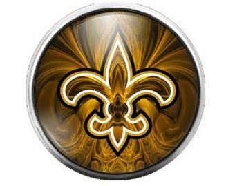 Fleur De Lis Black Gold - 18MM Glass Dome Candy Snap Charm GD0082