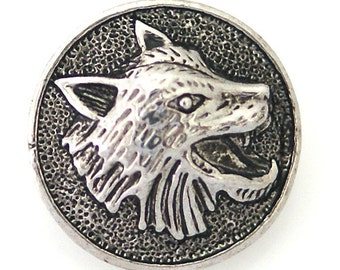 1 PC 18MM Wolf Animal Silver Candy Snap Charm Limited Edition CC3129
