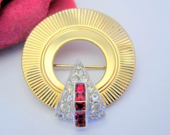 Marcel Boucher Brooch - Red Rhinestone - Unsigned Brooch - Art Deco Circle Pin