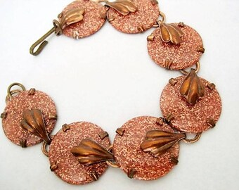 Copper Link Bracelet -  Lucite Goldstone- Lucite on Copper.