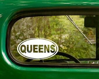 Queens Decal, Queens Sticker, Queens New York, City Sticker, Car Decal, Laptop Sticker, Oval Sticker, Bumper, Vinyl Decal, Car Sticker
