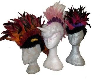 Feather Mohawk Headdress Unicorn Devil Ears Festival Burning Man Glastonbury