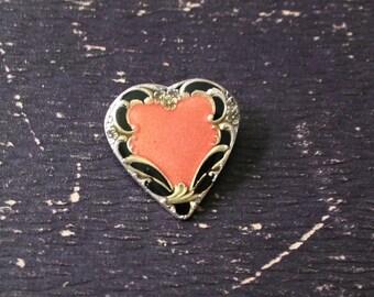 Vintage Catherine Popesco La Vie Parisienne Art Nouveau Heart Brooch Pink Enamel Made In France