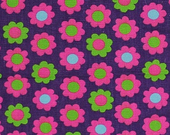 Vintage Mod Twill Fabric, Flower Power, Sewing Pattern
