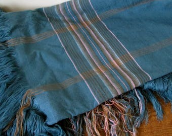 New Condition Vintage Wool Linen Throw - Blue with Pink and Brown