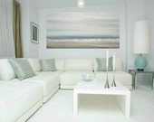 """Art, Large Painting, Original Abstract, Acrylic Paintings on Canvas by Ora Birenbaum Titled: Soft Clouds 5 24x48x1.5"""""""
