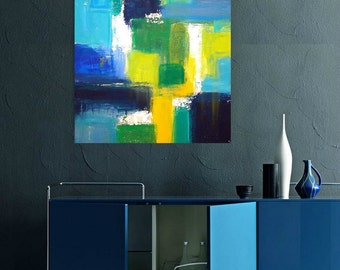 Art Acrylic Abstract Painting Original Art on Gallery Canvas by Ora Birenbaum Titled:  Uptown Chic 24x36x1.5""