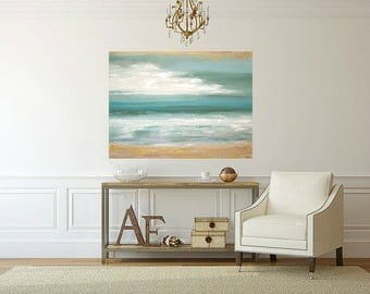 """Ocean Seascape Acrylic Abstract Painting Titled: Windswept Shores 30x40x1.5"""" by Ora Birenbaum"""