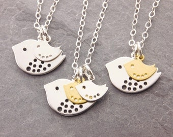 Mother Daughter, 1-2 kids, mothers necklace, mom necklace, expecting mother, new mom, bird necklace, gifts for mom, baby shower, N2