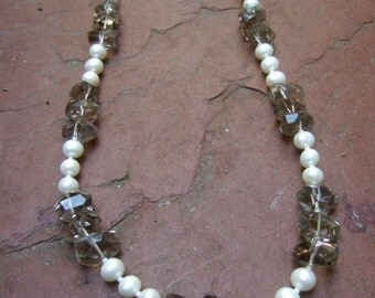 Elegant Gray Crystal Glass Pearl Necklace