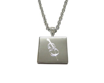 Silver Toned Etched Cello Music Instrument Pendant Necklace