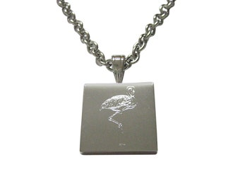 Silver Toned Etched Flamingo Bird Necklace