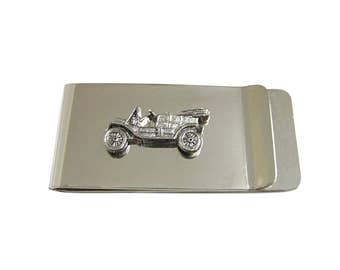 Silver Toned Textured Retro Car Money Clip