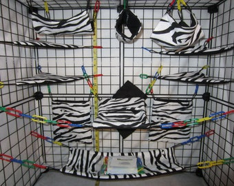 17  Pc  - Black  & White Zebra - Sugar Glider Cage Set