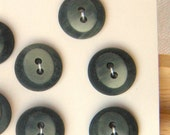 5 Small Two-tone 15 mm, Loden Green Buttons,two-shape Oval on Round Button, 2 holes, Dark Moss Green, Matte Finish, Moderne