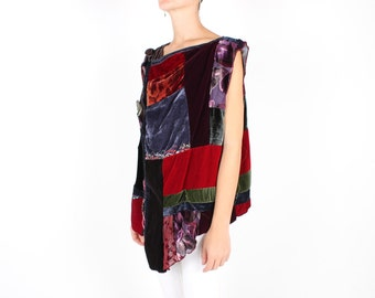 90s PATCHWORK VELVET / Work of Art / Rainbow Avant Garde Boxy Waistcost / Vest / Wrap Top / Blouse / Shirt