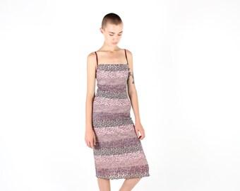 90s Crochet / Lace Multi Colour Stripe Knit Square Neck Bandage / Bodycon Spaghetti Strap Tank Midi Festival Dress