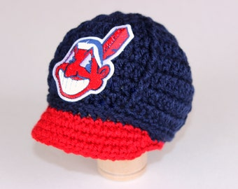 Baby Cleveland Indians Tribe Cap - Hat - Knitted / Crochet - Baby Gift / Newborn - Photo Photography Prop - Baseball - MLB