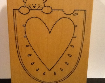Heart Pocket Rubber Stamp by Darcie