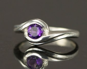 Amethyst Sterling Ring -  February Birthstone Ring - Bypass Swirl Ring - Ready to Ship - Size 7.25