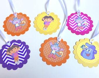 12 Dora the Explorer Favor tags, Dora Treat Bag Tags, Dora Birthday Decorations, Dora Goody Bag Tags, Dora the Explorer Birthday Decorations