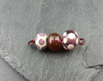 Ivory and Amethyst mini lampwork bead set