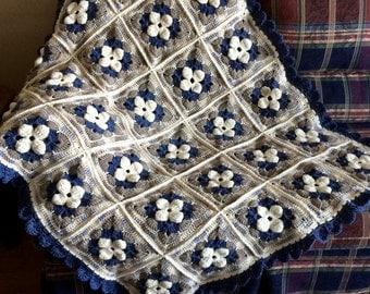 Wool Blanket Afghan Crochet Throw Blue Brown Cream Flowers