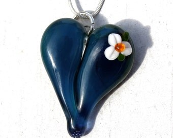 Glass Heart Necklace, Lampwork Boro Jewelry, Hand Blown Boro Pendant, Handmade Heart, Sparkling Blue White Flower