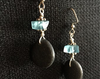 Lake Superior Stone and Beach Glass Earrings