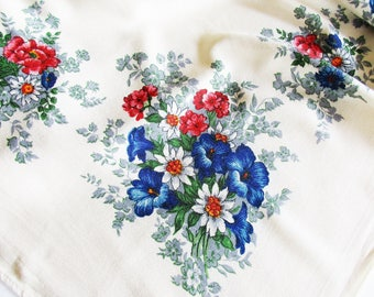 Lovely Large German Vintage Rustic Tablecloth with Enzian Edelweiss and Alpine flowers, Instant Rustic Folk Art Home Decor