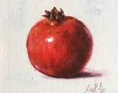 Pomegranate Original Oil Painting by Nina R.Aide 6x6 canvas Fine Art Studio Gallery Kitchen Art Small Painting