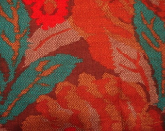 Vintage Fashion Apparel Red Multi Colored Fabric Material