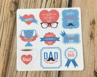 Father's Day Planner Sticker Sampler, Father's Day Stickers, Dad Planner Stickers, Dad Stickers, set of 9
