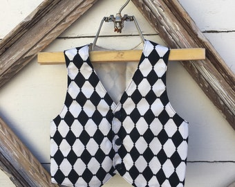 black and white harlequin vest for boys, black vest for boys, Boys ring bearer vest, Toddler boy vest  (sz. available 1-8 year old)