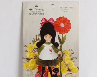 Vtg 1960s Little Alice Ann Hallmark Plans a Party Centerpiece Girl Cat Honeycomb
