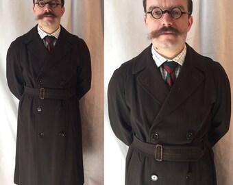 1930s gaberdine mac overcoat