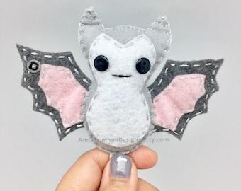 Fruit bat white vampire bat, gothic bat, goth ornament, white bat, hanging bat, bat gift, felt bat, goth decor, bat plush, bat ornament, bat
