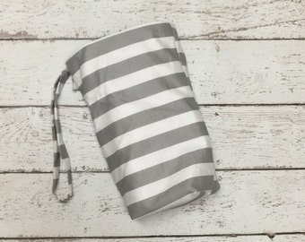 SALE Grey Stripes Car Trash bag with LINER, use with lunch bag for easy quick empty and no mess
