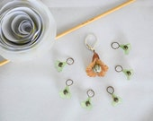 Little Flowers Stitch Marker Progress Keeper Set Green and Brown Flowers Knitting Notions Gift Ideas