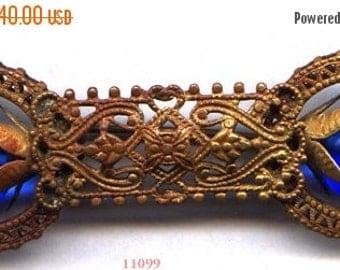 15% DISCOUNT Filigree Brooch with 2 Cobalt Beads   ITEM NO: 11099