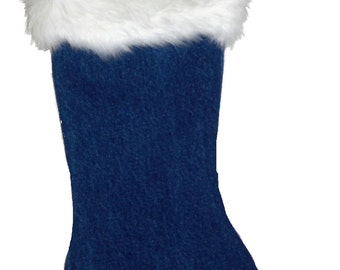 Christmas Stocking, Holiday Stocking, Denim Stocking