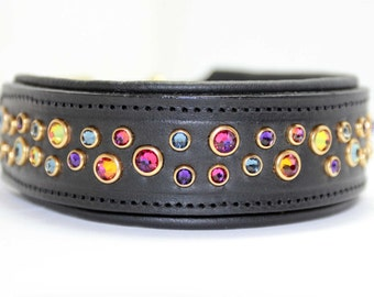 Design your own Padded Leather Dog Collar, Custom Padded Dog Collar, Leather Padded Dog Collar with Swarovski Crystal