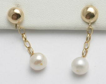 Vintage  14k yellow gold Pearl Drop Chain Earrings Estate