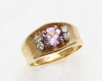 Estate 14k yellow gold Amethyst & Diamond Flower Ring Wide Band Vintage