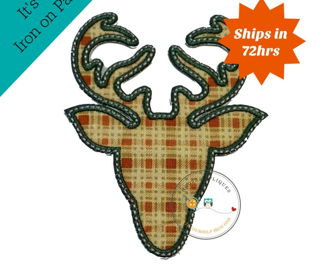 Plaid deer head with green trim- iron embroidered fabric applique patch embellishment- ready to ship