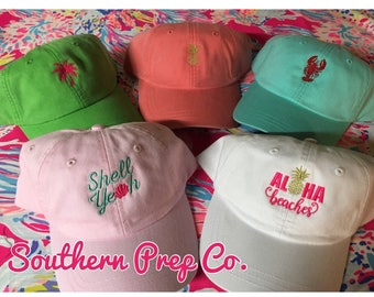 New Summer Hats Aloha Beaches Shell Yeah Pineapple Palm Tree Lobster Baseball Cap with adjustable strap