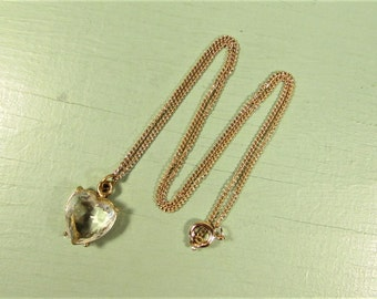 Crystal Heart Necklace - Vintage Small Simple Gold Tone Pendant