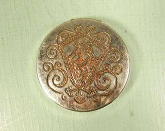 Fiancee by Bourjois Rouge Compact - Vintage Pink Coral Patent 1916 Silver Tone Pot