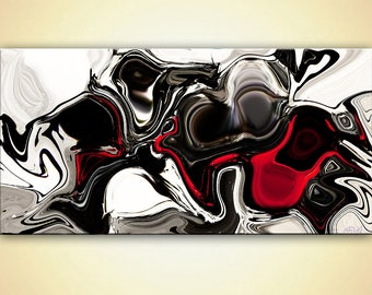 Modern black white red Abstract Print on Canvas or Photographic Paper