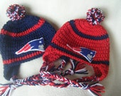 Crocheted Patriots Inspired  Football Helmet Baby Girl or Boy Beanie/hat - Made to Order - Handmade by Me